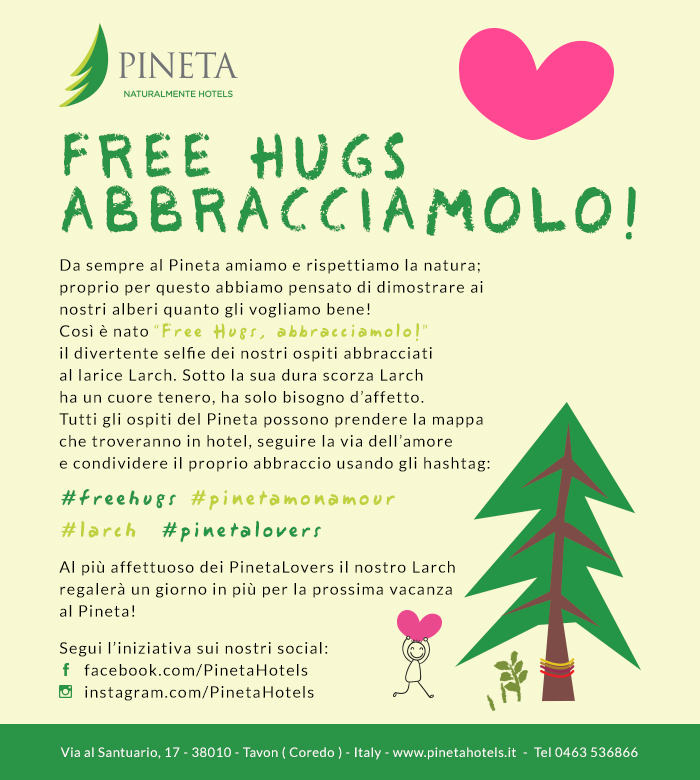 Contest Free Hugs ABBRACCIAMOLO #pinetamonamour #larch #freehugs