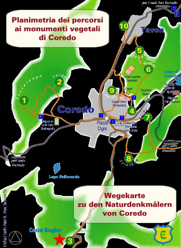 mappa monumenti vegetali della Predaia