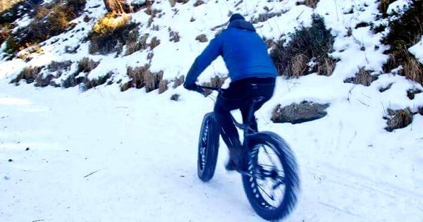 In bici sulla neve