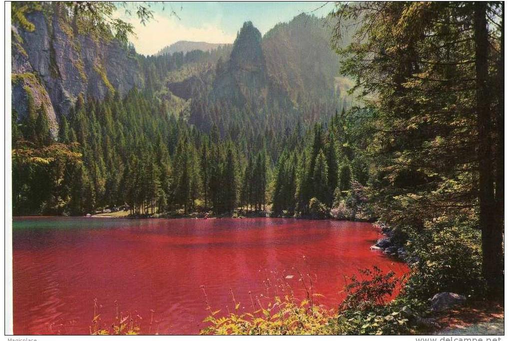 Il Lago di Tovel dal colore rosso in una foto di repertorio precedente al 1964 (mattinonline.ch)