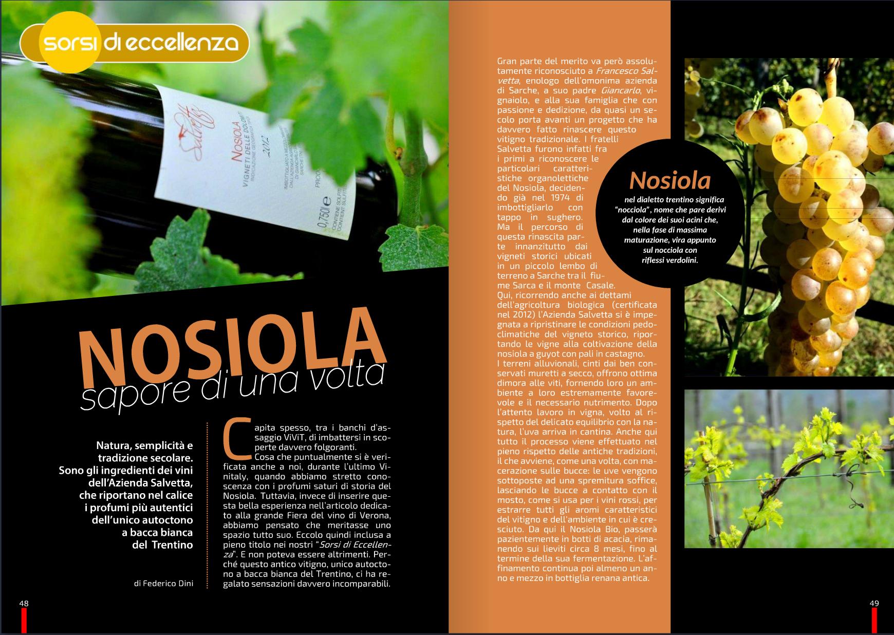 Pagina di una rivista dedicata al Nosiola