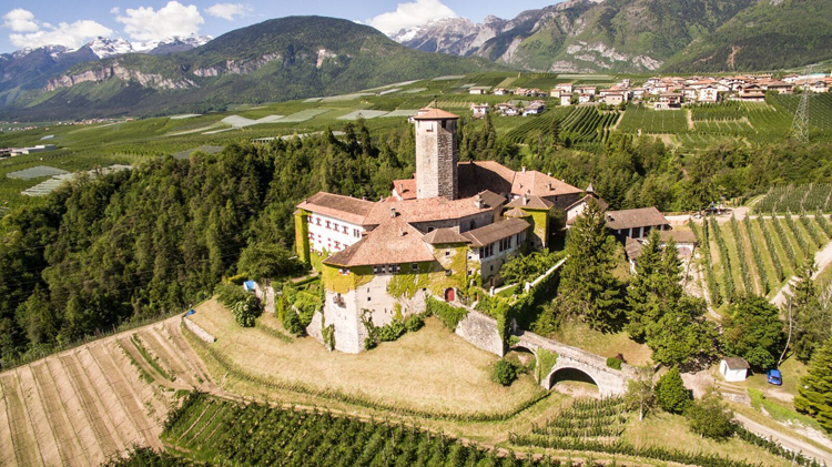 Panoramic view of Castel Valer in Val di Non northern Italy