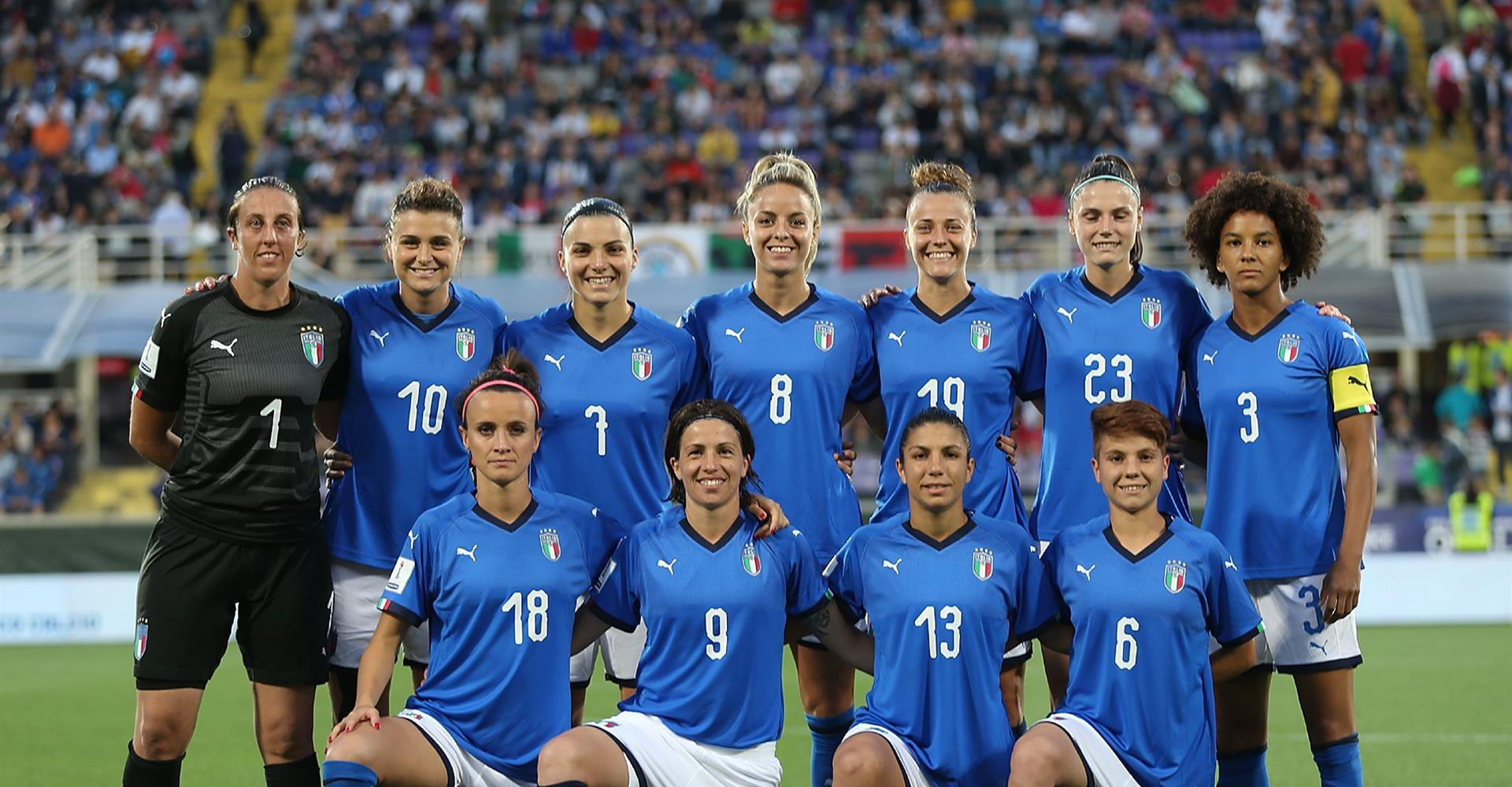 Le azzurre di Milena Bertolini durante i campionati mondiali di calcio femminile 2019, in cui l'Italia ha raggiunto i quarti di finale