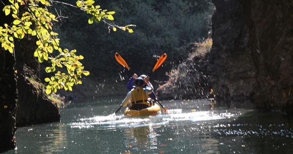 Kayaking on the Rio Novella amid canyon gorges