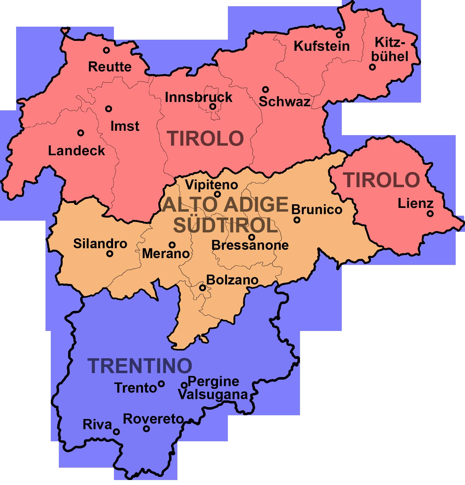 Province Trentino Alto Adige Cartina.Trentino Alto Adige Pagine Faq Risposte Alle Vostre Domande